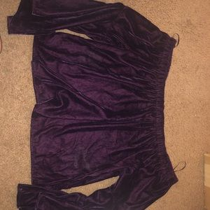 HCO DarkPurple Velvet Off the Shoulder bell sleeve